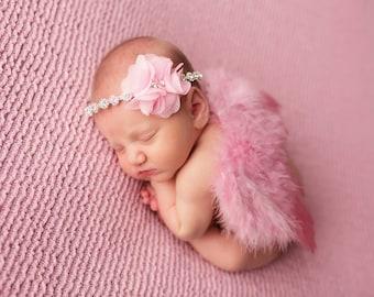 Dark Pink Angel Wing and Headband Set, Newborn Photo Prop, Baby Girl Prop, Rhinestone Headband and Wings, Pink Prop Set
