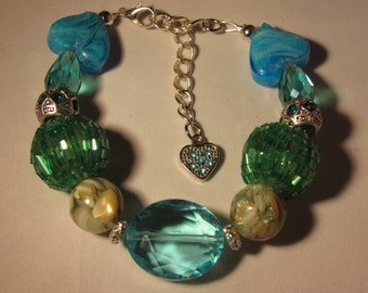 Blue Hearts and Green Beaded Bracelet