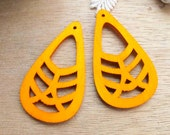 WP22 / # 2 Orange / Geometric Tear Shape for Earring /Laser Cut Geometric Wooden Charm /Pendant /Large Filigree Wood Dangle /DIY Ornament