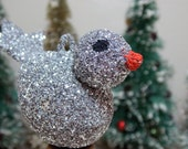 Silver Glitter Bird Ornament Retro Christmas Tree