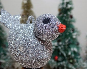 Silver Glitter Bird Ornament Retro Christmas Tree