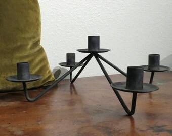 Metal mid-mod candlabra, centerpiece decor