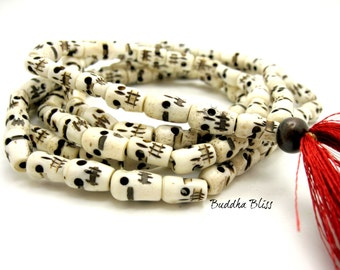108 Bead Bone Skull Mala Necklace, Buddhism, Prayers, Mantra, Mala, Mens, Ritual, Spiritual, Skull