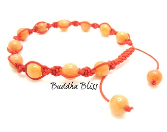 Set Necklace and Bracelet, Red / Orange Aventurine, Beaded, Macrame, Prayer Beads, Wrist Mala, Yoga, Meditation,