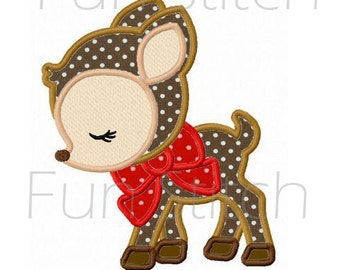 Christmas reindeer with bow applique machine embroidery design