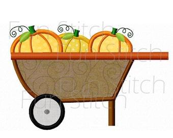 pumpkin cart wagon applique machine embroidery design