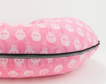 Pink Skulls Boppy Cover Nursing Pillow Cover Boppy Slipcover with Zipper and Piping All Cotton Boppy Cover Boppie Cover Halloween Baby