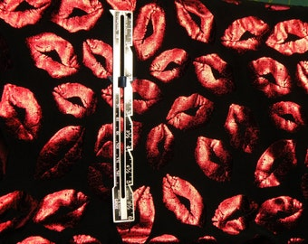Stretch Lycra Red Metallic Kisses Lips Fabric