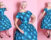 RESERVED 1950's New Look Turquoise Polished Cotton Sun / Party Dress w/ Huge Painted Plaid Motif, Shelf Bust, & Buckle Back Attached Belt