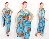 THE BEST 1950s Lagoon Blue Polished Cotton Hourglass Long Hawaiian Sarong Gown Dress w/ 5 Way Removable Straps & Sash by Kamehameha - S to M