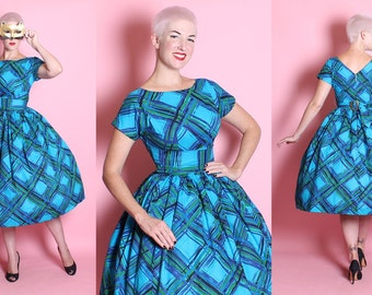 PERFECT 1950's New Look Turquoise Polished Cotton Sun / Party Dress w/ Huge Painted Plaid Motif, Shelf Bust, & Buckle Back Attached Belt - M