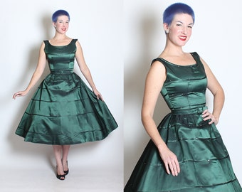 GORGEOUS 1950's New Look Iridescent Serpentine Green Sharkskin Taffeta Party Dress w/ Sparkling Rhinestones & Belt by Jonathan Logan - S