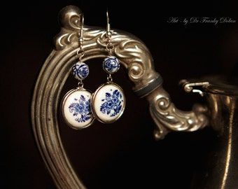 Delft Earrings Jewelry Art by Fae Factory Fantasy Artist Dr Franky Dolan {Hand Painted Blue and White Porcelain Set of Earrings OOAK Pair}