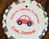 Red Race Car Collection: Set of 8 Circle Favor Tags. Toy Car. Beep Beep. Transportation. Flag. Checkered. Racing. Honk. Custom. Birthday.