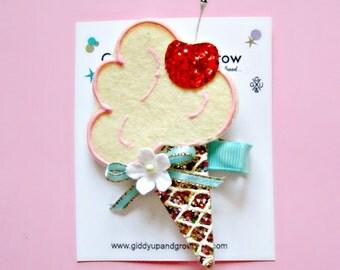 Ice Cream Cone Glitter Hair Clip Summer giddyupandgrow