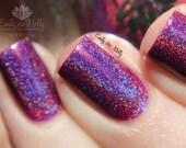 "Nail polish - ""Ambitious Flower"" Purple linear holographic polish"
