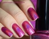 """Nail polish - """"Maddy's Magenta"""" Dark pink linear holographic polish"""