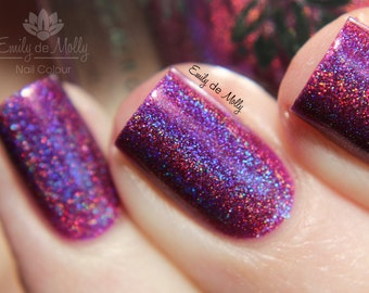 "Nail polish - ""Ambitious Flower"" Purple linear holographic polish"