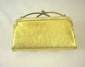 Evening Bag 1960's Gold Vinyl with Kiss Lock Closure and Chain Handle
