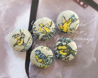Fabric Covered Buttons (M) - Vintage Look Retro Yellow Green Bird Birds On Retro French Green (5Pcs, 0.87 Inch)