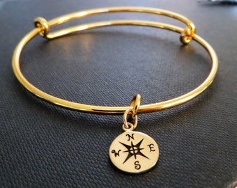 gold Compass bracelet, expandable bangle, gold compass charm, stacking, journey, gift for best friend, friendship