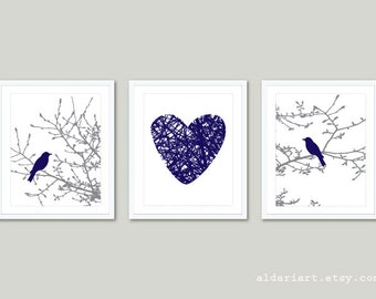 Birds on Magnolia Tree Branches and Heart Prints - Set of 3 - Birds on Branches Prints - Gray and Navy - Wall Art -  Aldari Art