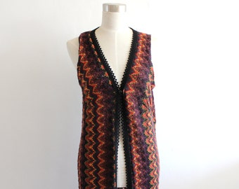 Vintage 90s boho long tunic vest/ 90s grunge/ small/ medium