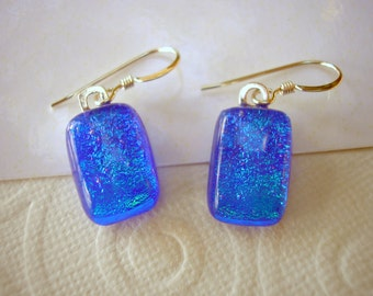 Blue Earrings Dichroic Fused Glass Sparkling .925 Sterling Silver Earwires Rectangular Shape Dangles Kiln Fired Artist Made Jewelry Women's
