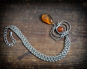 50% ff coupon code ALLYOUNEEDISLOVE - Fiery Orange amber Drop on chainmaille chain 1970 vintage Amber Metalwork necklace