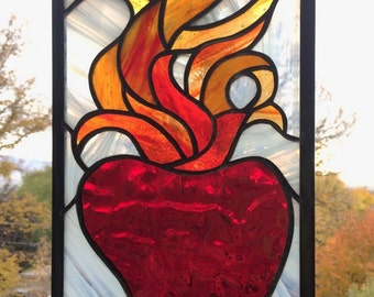 "Sacred Heart  7"" x 13""--Stained Glass Window Panel"