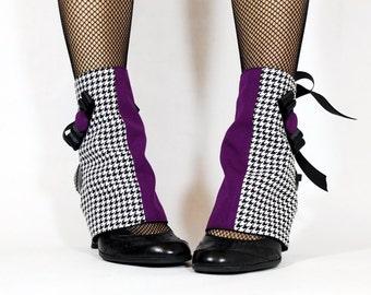 Purple & Houdstooth Spats. Handmade. OOAK