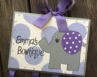 Bow Holder - ELEPHANT BOWTIQUE Design - XLarge Handpainted and Personalized Hair Bow Holder - Elephant Nursery - Purple and Grey Bow Holder