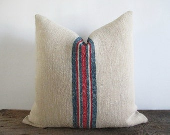 Pillow Cover Authentic Grain Sack Blue Red Stripes Fawn Ticking Zipper