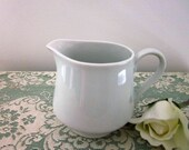 Vintage All White Porcelain Cream Pitcher made in Japan - Cottage Kitchen - White Creamer - White Kitchen Decor - Dishwaher, Microwave Safe