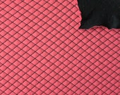 Hot Coral and Black Diamond Quilted Jacquard Knit, 1 Yard