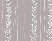 Grey and White Leaf Kelp Stripe Organic Cotton Interlock Knit, Beyond The Sea For Birch Fabric, Kelp in Shroom, 1 Yard