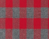 Red and Grey Robert Kaufman Mammoth Plaid Flannel, 1 Yard