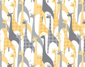 Grey and Yellow Giraffe Animal Flannel, 1 Yard