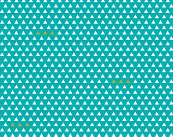 Teal and Gold Geometric Triangle Cotton Fabric, Four Corners by Simple Simon for Riley Blake Designs, Triangle Print in Teal, 1 Yard