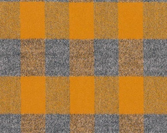 Mustard and Grey Robert Kaufman Mammoth Plaid Flannel, 1 Yard