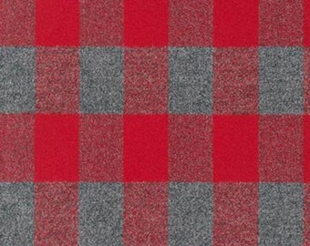 Red and Grey Robert Kaufman Mammoth Plaid Flannel, 1 Yard