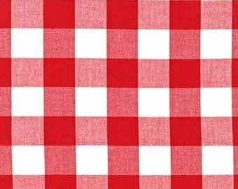 Red and White Plaid Checked Gingham, Robert Kaufman Carolina Gingham, 1 Yard