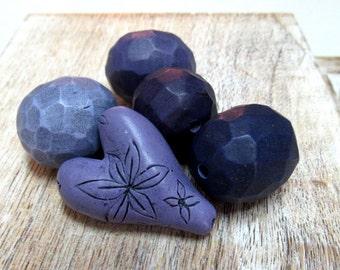 Bead set, Artisan Beads, Art Beads, Fragment Beads, Geometric Beads, Hollow Beads, Carved Beads, Heart Art Bead, Purple rustic heart
