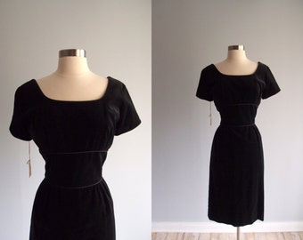 1950's dress / Black Velvet slim pencil skirt Dress Helen Whiting label New Old Stock with tags attached...27 waist