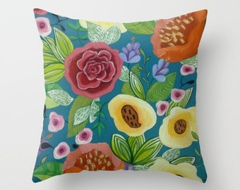 Throw Pillow Flower Forest Peach Floral Artwork printed on Pillow Unique Throw Pillow FULL PILLOW