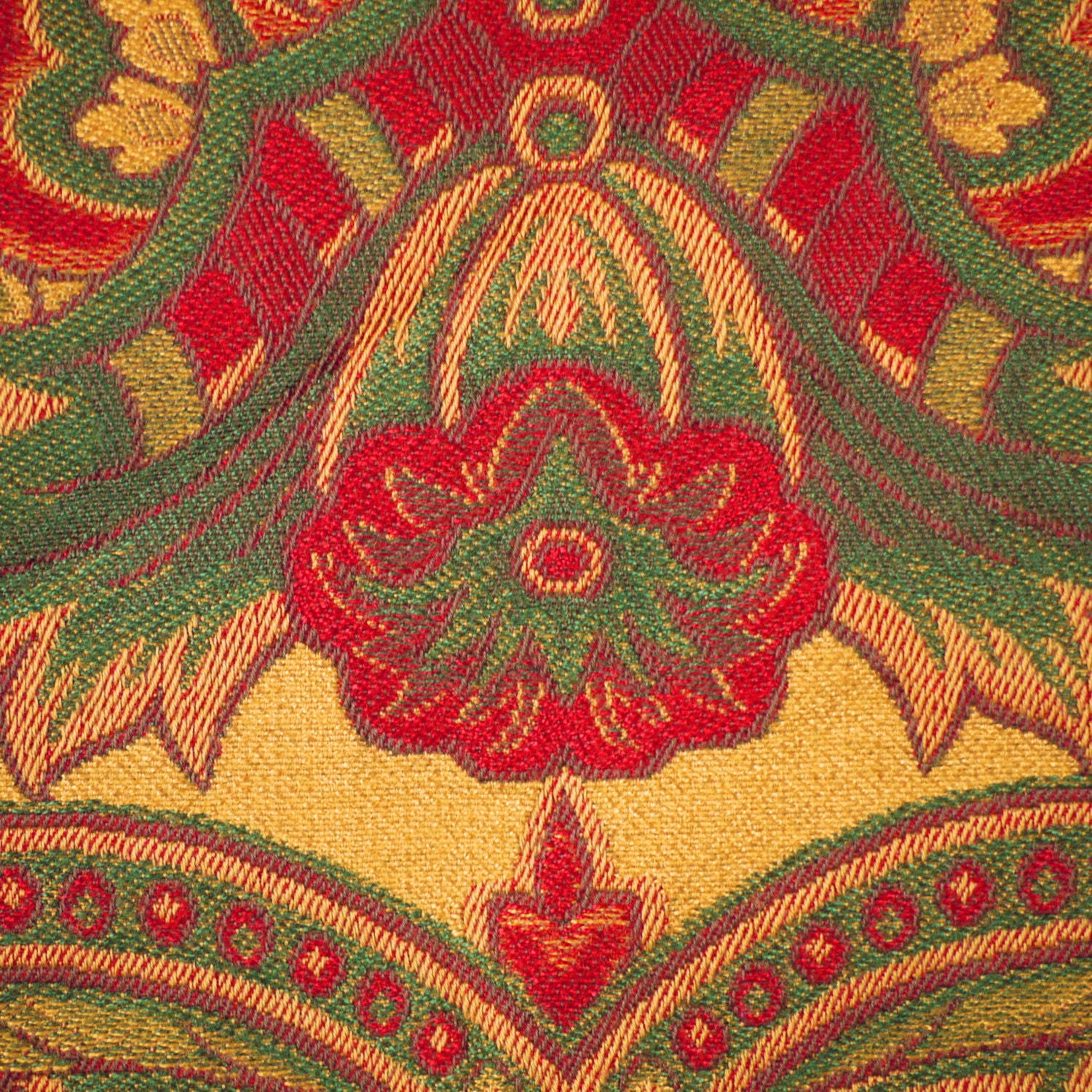1 yard brocade red green gold paisley home decor or upholstery fabric large design heavy. Black Bedroom Furniture Sets. Home Design Ideas