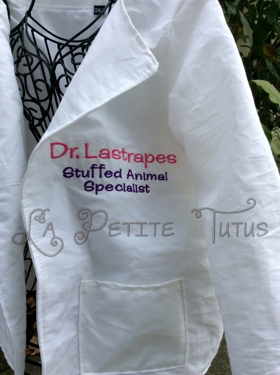Doctor lab coat stuffed animal specialist personalized