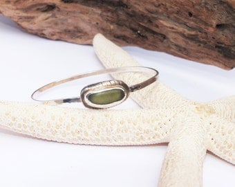 Sterling Silver Bangle, Sea Glass Bangle, Seaglass Bracelet, Lake Erie Beach Glass, Sea Glass Jewelry, Gift for Mom
