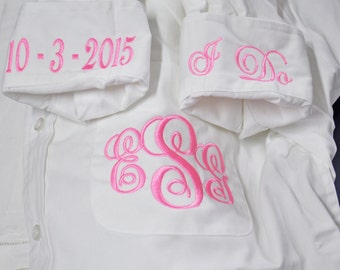 Bride Shirt Personalized Bridal Party Shirts Set of 4 Getting Ready Shirt Oversize Button Down Shirt for Wedding Day I Do Shirt