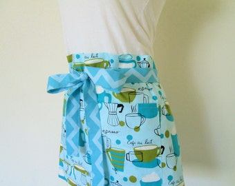 Half Apron - A Hip Cafe Powder/Turquoise Blue Apron Filled with Coffee Cups, Espresso, and Cafe Au Lait - Great hostess/vendor Apron